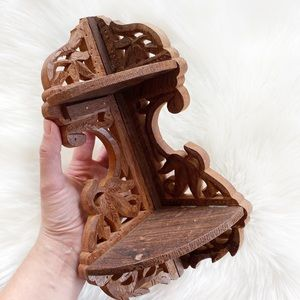 Hand Carved Wooden Corner Shelf